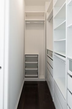 In this post, we're sharing everything we learned building the Ikea PAX closet system, including: helpful tips for assembly ways we hacked the PAX for a custom size how to cover Ikea PAX holes alternative rod options must-have accessories to. Small Walk In Wardrobe, Walk In Closet Ikea, Ikea Pax Closet, Small Closets, Small Walkin Closet, Closet Rod, Ikea Pax Corner Wardrobe, Ikea Closet System, Walk Through Closet