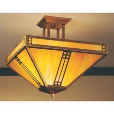 "Arroyo Craftsman Prairie Semi Flush Mount Size: 17.5"" H x 18.13"" W, Finish: Antique Brass, Shade Color: Almond Mica"