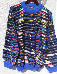 COLORFUL Vintage COOGI SWEATER, LARGE WOOL Australia, HipHop Cosby Biggie   eBay