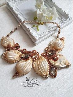 Copper shibori necklace by AdrianaJewelryStyle