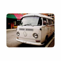 "Angie Turner ""VW Bus"" White Vintage Memory Foam Bath Mat"