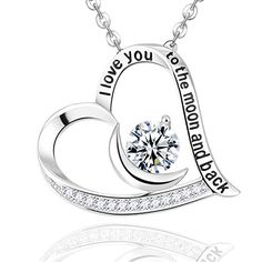 ALOV Jewelry Sterling Silver I Love You To The Moon and Back Two-Piece Pendant Bead Charm For Valentine's Day plfh8q