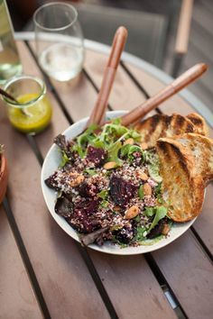 Grilled Beet, Quinoa Salad.  Prepare dairy free