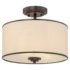 Cast a warm glow over your entryway or dining table with this classic semi-flush mount, showcasing a drum shade.  Product: Semi-...