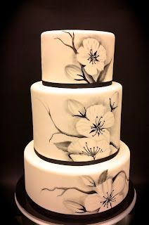 Black and white painted-wedding Cake, absolutely gorgeous! I wish I could paint like this!