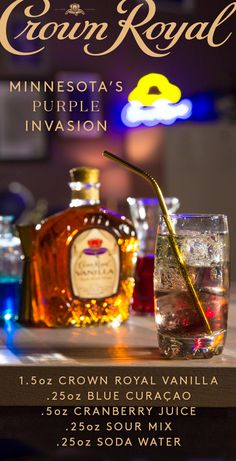 Post up on game day and fix yourself a smooth sipping Crown Royal recipe to enjoy with your fellow fans. To mix up the Purple Invasion, combine 1.5 oz Crown Royal Vanilla, .25 oz blue curaçao, .5 oz cranberry juice, and .25 oz sour mix into a cocktail shaker. Pour into a highball glass over ice, top with .25 oz soda water, and raise a glass for your team!
