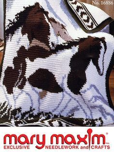 Mary Maxim - Wild Horses Afghan Pattern - Patterns & Books Use Mary Maxim Worsted Weight yarn to crochet this afghan. Crochet Afghans, Graph Crochet, Crochet Quilt, Tapestry Crochet, Knit Or Crochet, Crochet Crafts, Easy Crochet, Crochet Stitches, Crochet Projects