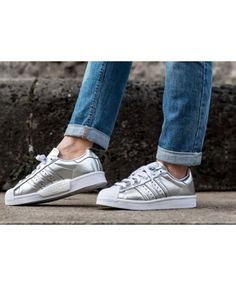 Adidas Superstar Traniers In White And Sliver Cheap Sale Superstars Shoes, Adidas Superstar, Shoe Sale, Trainers, Adidas Sneakers, Shopping, Black, Women, Fashion