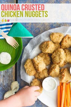 Kids love chicken nuggets! This quinoa crusted version is healthier and so delicious. #chickennuggets #healthykidsfood #quinoa