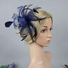 Vimans Women's Bridal Flower Feather Veil Hats Wedding Hair Clip Fascinators Blue at Amazon Women's Clothing store: