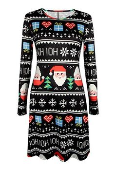 c2a8d27d1bf Black Letter And Mosaic Santa Claus Print Holiday A line Dress Online  Shopping. Women Plus Size Dress