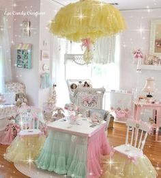 I love tulle - Love this candy coloured girly/play room...