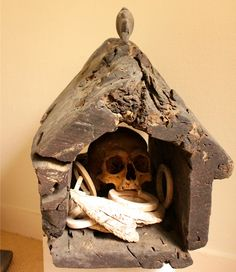 Tribal human skull house reliquary Guadalcanal Solomon Islands w/ fossilized sperm whale tooth and shell ring currency (wealth items) Shrunken Head, Catacombs, Warrior Girl, Creepy Stuff, Solomon Islands, Human Skull, Amulets, Skull And Bones, Skull Art