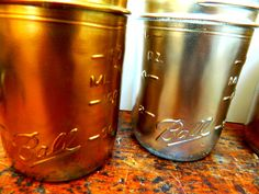 Rustic Supplies  Mason Jars  Gold and Silver  4 inch by papercatz