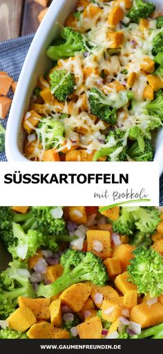 Brokkoliauflauf mit Süßkartoffeln – ein schnelles Kinderrezept Broccoli casserole with sweet potatoes, onions and cheese – a delicious, healthy and quick children's recipe with only 4 ingredients – food gourmet friend Baby Food Recipes, Food Network Recipes, Salad Recipes, Healthy Recipes, Healthy Tips, Healthy Meals, Delicious Recipes, Healthy Food, Healthy Eating