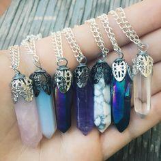 Crystal Pendant Necklace Raw Healing Jewellery-  Personalized Bohemian Jewelry Choker Rose Quartz Amethyst Opal Reiki Chakra Hippie Tumblr