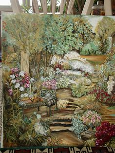 By Joyce Bradford, Acrylic, 'Garden Oasis' I painted this with the intention of placing an old antique window over it, which I did. Turned out really well.