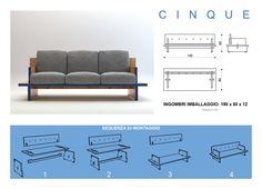 CINQUE by de.SMAG Cinque è un divano estremamente essenziale. Non necessita l'uso di viti e chiodi grazie ad un sistema di incastro delle sue parti. Due gambe/braccioli, un traverso, un piano e un schienale bastano per comporre un divano. Lo schienale ha dei fori che hanno lo scopo di legare l'imbottitura alla struttura.