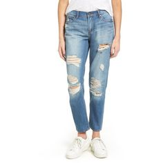 Women's Articles Of Society Carrie Ripped Crop Jeans (€61) ❤ liked on Polyvore featuring jeans, hayes, distressed cropped jeans, torn boyfriend jeans, frayed boyfriend jeans, boyfriend jeans and blue jeans