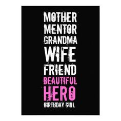 80th Birthday Invitation for her - your Mom & Beautiful Hero