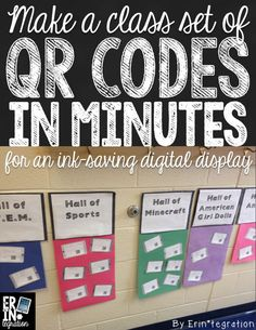 Make a class set of QR codes in minutes. Great idea for an ink saving digital display.