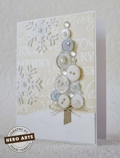 "This beautiful white button tree card would make a lovely ""hello winter"" card as well as a handmade Christmas card. Use your white buttons on a white background next to felt white snowflakes to create your own winter wonderland. Christmas Tree Cards, Xmas Cards, Xmas Tree, Button Christmas Cards, Christmas Buttons, Christmas Wrapping, Greeting Cards, Handmade Christmas, Christmas Crafts"