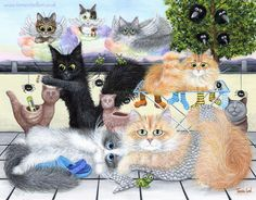 'Gathering On The Gallery' by Tamsin Lord - the feline family of a friend.