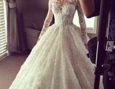 Beautiful Lace Wedding Dress,Illusion Long Sleeves Wedding Dress,Ball Gown Wedding Dress,Wedding Dress 2016,Bridal Dress For Wedding,Custom Made Wedding DressWant a glamorous red carpet look for a fra..