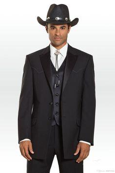 6a17535a49dc0 S120 2015 fashion west cowboy black two buttons notch lapel Bridegroom Man  Tuxedo for men formal