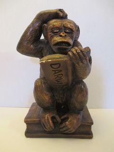 Vintage PROGRESSIVE ART PRODUCTS Philosophizing Monkey Chalkware Figure