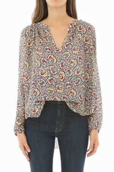 92dbdbdb53d836 The Carousel Top. Gypsy Floral This airy silk top has a custom milled  colorful print