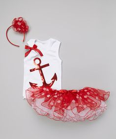 This White & Red Anchor Tank Set - Infant, Toddler & Girls by So Girly & Twirly is perfect! #zulilyfinds