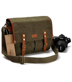 de87957fed3 ZLYC Vintage Style DSLR SLR Canvas Camera Shoulder Bag with Shockproof  Removable Padded Insert, Green     Check out this great image