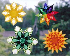 Waldorf inspired Window Stars. we've only made the rainbow ones (upper right) but i want to try the others! they look like suns, snowflakes, flowers!