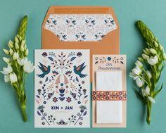 """51 Likes, 5 Comments - Fanfare   Paper Goods (@fanfare.papergoods) on Instagram: """"Hochzeitstauben und folkloristische Blumenornamente in Pfirsich- und Rosttönen. Alle Farben sind…"""""""