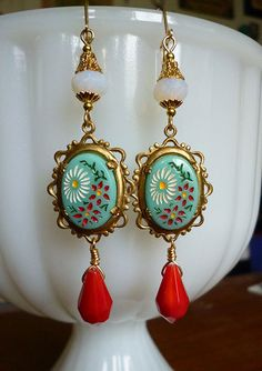 Dainty Daisy Earrings with Vintage 1940s Glass Cameos in Vintage Lacy Settings, Czech Glass beads & Opaque Red Glass Drops with Gold Accents on Etsy, $46.00