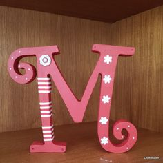 """red """"M"""" Freestanding Wooden Letters, Birthday Candles, Symbols, Room, Crafts, Handmade, Bedroom, Manualidades, Hand Made"""