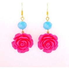 Spring Flower Earrings Fuchsia Pink Rose with Sky Blue faceted crystal... ($7.50) ❤ liked on Polyvore featuring jewelry, earrings, long earrings, flower earrings, vintage dangle earrings, crystal dangle earrings and gold crystal earrings