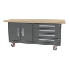 """MOBILE WORKBENCH - All welded construction. Overall size - 72""""w x 30""""d x 34""""h - 32""""w (4) drawer base cabinet - 125 lb full extension drawer glides - 32""""w (2) door base cabinet - (1) adjustable shelf"""