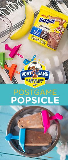 Looking for creative, nutritious ideas for a post-game snack? Try these Post-game Popsicles using Nesquik. Mix milk and Nesquik Powder in a large measuring cup or medium bowl. Add Yogurt and Banana slices and combine well just by stirring with a spoon. Freeze pops for at least 4 hours. Enjoy! Recipe inspired by @stephaniesclark Baby Food Recipes, Snack Recipes, Dessert Recipes, Cooking Recipes, Yummy Treats, Delicious Desserts, Yummy Food, Frozen Desserts, Frozen Treats