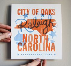 City Love Print Raleigh NC  8x9 by DapperPaper on Etsy,