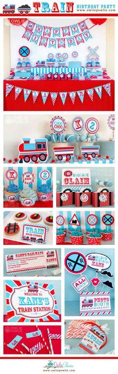Train BIRTHDAY Party Printable Package & Invitation by OwliePowlie
