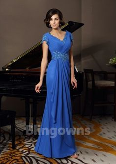 Chiffon Ruched V-neck Short Sleeves Appliques Blue Mermaid Zipper Floor Length Mother Of The Bride Dresses