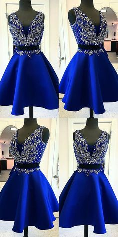 two pieces homecoming dresses, A-line homecoming dresses, roayl blue homecoming dresses, beaded homecoming dresses, short prom dresses, formal dresses, party dresses, cocktail dresses#SIMIBridal #homecomingdresses