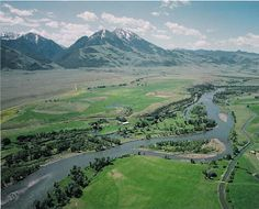 Aerial Photography of Paradise Valley Montana and the Yellowstone River -- Chico Hot Springs at base of Emigrant Peak. C type going to D? Natural D?