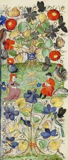 Libro d'Ore di Margherita d'Orléans, Parigi, 1430 ca. Paris, BNF, ms. Latin 1156B, f. 89r: dettaglio della decorazione marginale