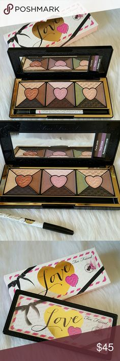 Too Faced Love Eye Shadow Palette 💕PRICE FIRM💕 NIB. Never been used. 15 passionately pigmented shades in shimmer, pearl & matte finish. Includes one black full size waterproof eyeliner.  💕PRICE IS FIRM. NO OFFERS PLEASE💕 Too Faced Makeup Eyeshadow