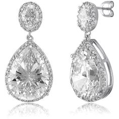 BERRICLE Sterling Silver Pear CZ Halo Wedding Fashion Dangle Drop... ($93) ❤ liked on Polyvore featuring jewelry, earrings, clear, dangle earrings, women's accessories, drop earrings, cz dangle earrings, long earrings, long post earrings and cubic zirconia earrings
