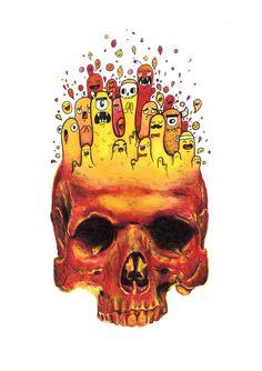 Red Skull Doodle Print / Vexx_art