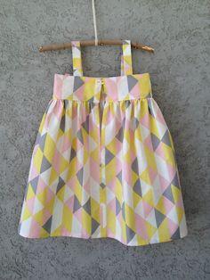 Pink, Yellow, Grey, White, Geometrical/Triangle pattern, 100% Organic cotton Baby/Toddler Dress, Easter Dress. $60,00, via Etsy.